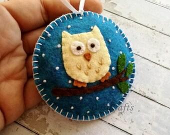 PRE ORDER / Felt Owl ornaments, Christmas owl decorations, Woodland Christmas ornament, Christmas Owl gift, decor, Christmas ornaments, Xmas