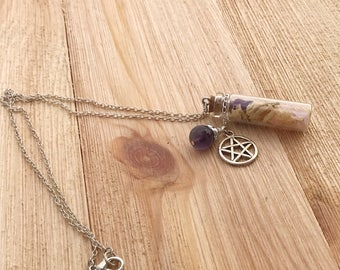 Clearance Glass bottle necklaces with jade, sea salt and cedar, amethyst, magnetite