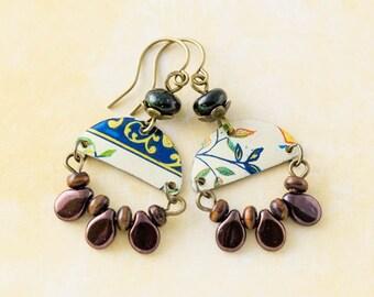 Elegant Vintage Tin Half Circle Earrings with Eggplant Purple Drop Beads and Green Stone Beads, Vintage Tin Jewelry, Boho Style
