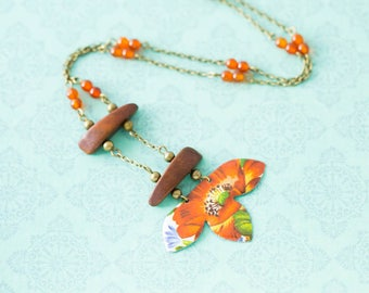Orange Flower Vintage Tin Ladder Necklace with Vintage Wooden Beads and Carnelian Beads and Antique Brass Chain, Carnelian Necklace