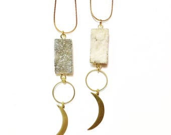 Luna Sparkle Necklace with Druzy Connector and Brass Crescent Moom