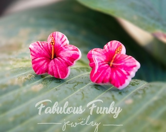 Hibiscus earrings - plastic