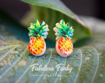 Pineapple earrings - plastic