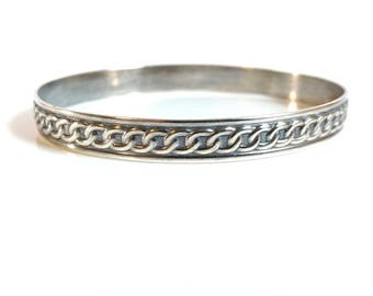 Silver Bangle,  Solid Silver Bangle, Bangle Bracelet  Patterned Bangle, Blackened  Bangle, Textured Bangle, Oval Silver Bangle