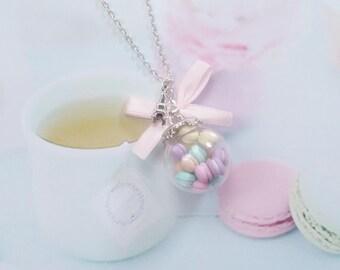 necklace globe glass macarons polymer clay