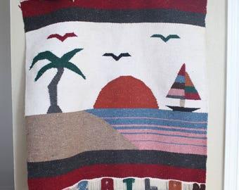 vintage 1970's mazatlan mexico woven native beach scene  wall hanging tapestry