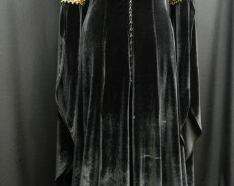 Inspired by Legend of the Seeker Kahlan's black velvet dress confessor custom made to your size!