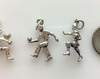 Vintage Sterling Silver Sports Figures - Football, Bowling and Soccer Charms