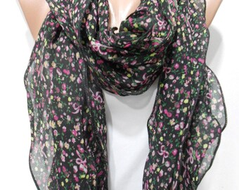 Valentines Gift For Her Floral Scarf Chiffon Scarf Ruffle Scarf Black Scarf    Fashion Accessories Gift For Women Holiday clothing gift