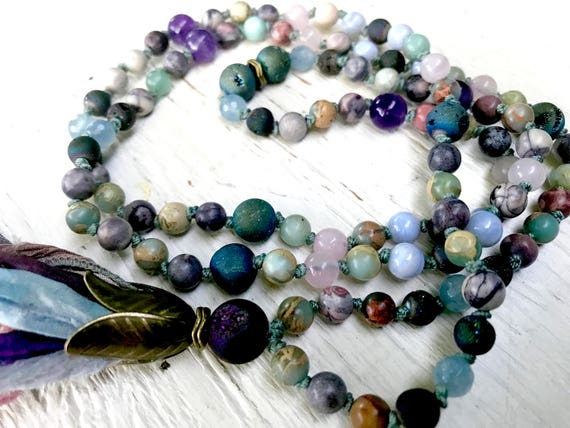 108 Mala Tassel Necklace, Goddess Mala Beads, Multi-Gemstone, Druzy, Porcelain Jasper, Aquamarine, Rose Quartz, African Opal, Amethyst,
