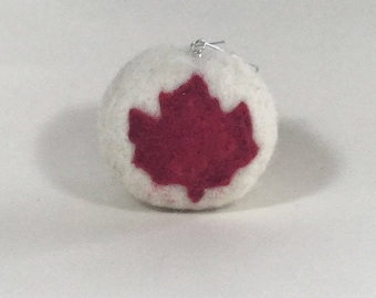 Canada 150 ornament, needle felted Canadian ornament, Maple Leaf Ornament