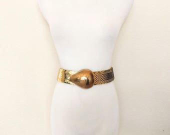 Vintage gold metal stretchy belt buckle elastic stretch scales heavy