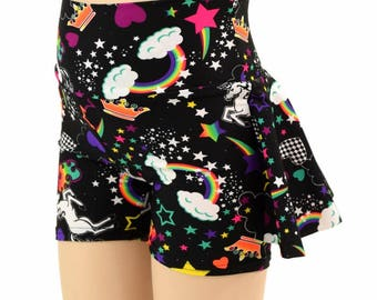 Kids Ruffle Rump Dance Shorts in Neon UV GLOW Unicorns and Rainbows Spandex  2T 3T 4T and 5-12 - 154975