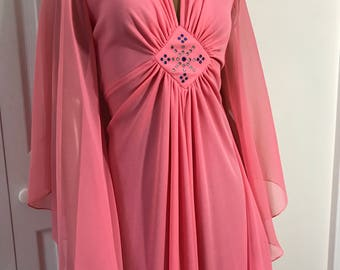 1960s Gown Maxi Melon Coral Chiffon Bat Sleeves Old Hollywood Size L
