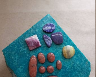 55% OFF Assorted Freeform Cabochons Ovals Squares/ pink alabaster/ charoite/ shell/ marble/ backed/ seconds