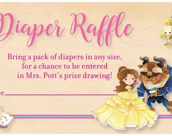 Beauty And The Beast Baby Shower Diaper Raffle Card   Belle And Beast  Diaper Raffle Card