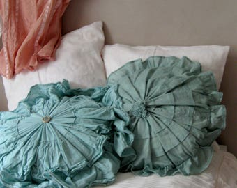 Blue Green Round Ruffle Pillow Covers French Chic Cushions Teal Throw  Pillows Dark Mint Cottage Pillows