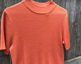 90s Orange Ribbed Mock Neck Top