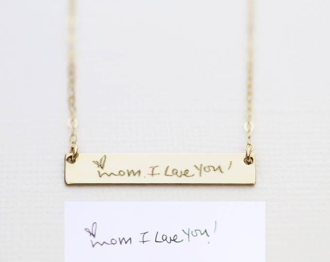 Gold Handwriting Bar Necklace // Personalized Signature Jewelry // Keepsake Jewelry // Actual Handwriting Necklace // Personalized Jewelry