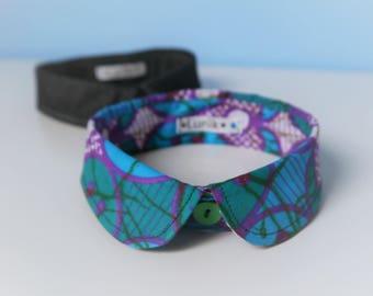 Faux-collar cotton batik, atypical necklace...