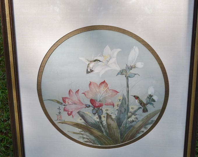 Vintage Hummingbird Print Framed with Glass Signed J Cheng Nature Inspired Wall DecorPanchosporch