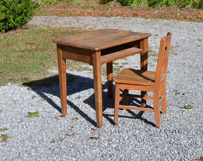 RESERVED -Vintage Wood School Desk and Chair Children Kid Size Craft Table Home School PanchosPorch