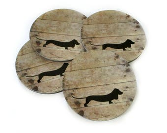 Dachshund Coasters Set - Doxie Dog Coasters - Dachshund Drink Coasters - Dog Lover Gift - Dachshund Lover Gift - Rustic Home Decor