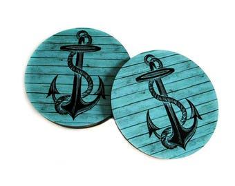 Anchor Coaster Set - Nautical Coasters w/ Anchors - Turquoise Coasters - Nautical Decor - Rustic Beach Decor - Beach Drink Coasters