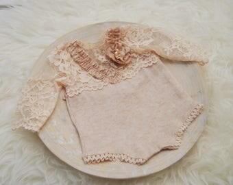 Newborn Romper, Lace Romper, Newborn Girl Props, Newborn Photo Prop, Newborn Props, Baby Girl Photo Outfit, Coming Home Outfit, Nude, 194