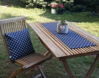 Navy Polka Dots Table Runner, Premium Cotton table runner, Water Resistant Stain Resistant Table Runner, Table Cloth, navy white polka dots