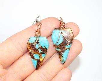 Turquoise earrings, Bornite earrings with resin, Copper wrapped earrings, Copper jewelry, Flashy earrings, Festival earrings, Gift for her