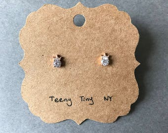 Rose Gold CZ Tiny Mini Tiara Crown Stud Earrings - Rose Gold plated over Sterling Silver