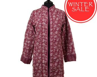 WINTER SALE - Leaf Jacket - All sizes - Long style - Wine red and off white leaf pattern