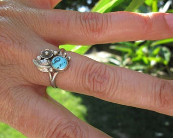 Turquoise and Sterling Silver Feather and Squash Blossom Ring Size 6.5