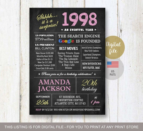 Surprise 20th birthday invitations chalkboard 20th birthday surprise 20th birthday invitations chalkboard 20th birthday invitation for her best sister daughter in law fun facts 1997 digital file filmwisefo Images