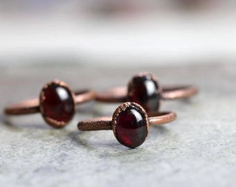 Garnet Ring Electroformed Capricorn Ring Copper Ring Stone Ring Polished Garnet Natural Stone Delicate Ring Deep Red Garnet