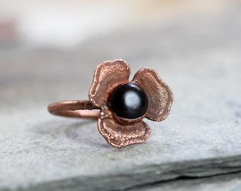 Flower Ring Black Obsidian Ring Electroformed Ring Black Stone Ring Electroformed Copper Polished Stone