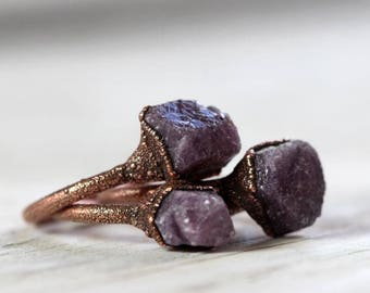 Ruby Ring Electroformed Jewelry Stone Ring Copper Ring Electroformed Ring Raw Ruby Ring Cancer Jewelry