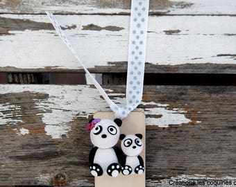 Bookmark, panda, polymer clay panda, teacher gift, bookmark teacher, panda, bookmark gift, mother-child bookmark, book gift, wooden bookmark, nursery