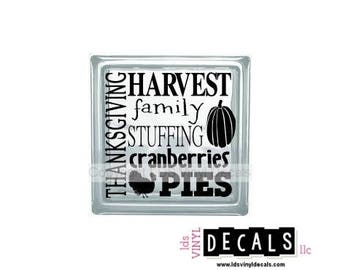 THANKSGIVING HARVEST family STUFFING cranberries Pies  - Fall Vinyl Lettering for Glass Blocks - Craft Decals