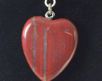 JASPER PENDENT NECKLACE, Red Jasper Heart Pendent Necklace, Gift For Her
