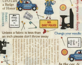 Quilt Police, Quilt Rules, Row by Row fabric - On the Go by Debra Gabel for Timeless Treasures - c5063 - Priced by the Half Yard