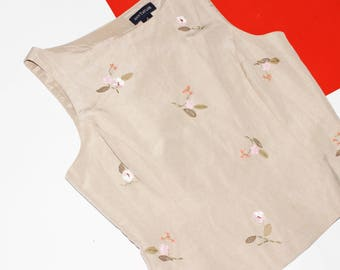 Embroidered Crop Top / Beige Scoop Neck Top / Novelty Sleeveless Blouse / Size 8