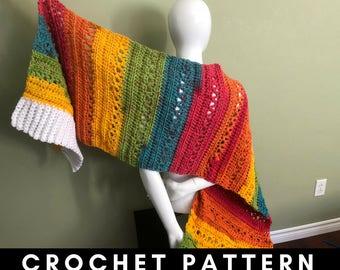 Wrapped in Rainbows Crochet Pattern PDF, Rainbow Super Scarf Pattern, Rainbow Wrap Pattern, Rainbow Shawl Crochet Pattern, Caron Chunky Cake