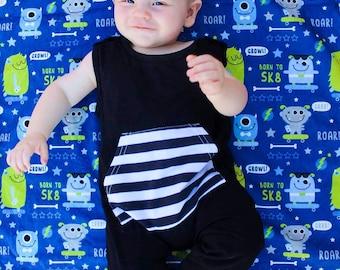 Skater Monster Baby Blanket - Blue Monster Baby Blanket - Skater Baby Blanket - Double Minky Baby Blanket - Minky Baby Blanket - Baby Boy