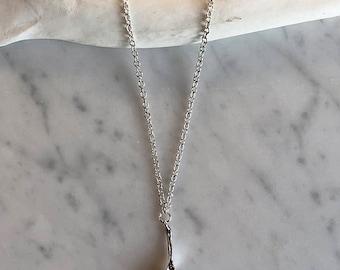 Opossum Vertebra charm necklace, sterling silver necklace, bone jewelry