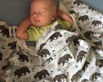 Baby Name Blankets // Personalized Baby Blanket Boy Baby Boy Blanket Custom Name Baby Blanket Personalized Baby Gifts- Bear w/Arrows