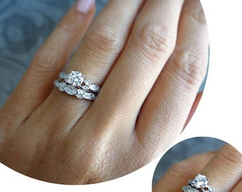34 ctw art deco floral bridal set vintage style ring wedding rings - How To Wear A Wedding Ring Set