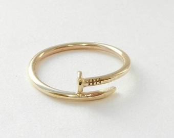 Solid Gold Nail Design(Style) Ring 14 K. Yellow,White Or Rose, Hand made in U.S.