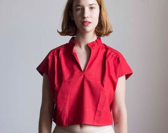 1980s Red Indian Cotton Crop Top // Size Small